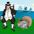 Pilgrim with Turkey — Imagen vectorial