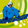 Stock Vector: Snowboarding