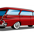 Red Car Station Wagon Back View — Stockvectorbeeld