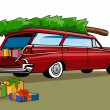 Red Car Station Wagon Christmas — Stockvectorbeeld