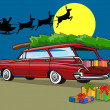 Station Wagon Christmas with Santa on Sleigh — Imagen vectorial