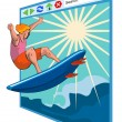 Surfer on Net Window — Stock Vector