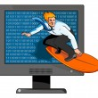 Surfer on the Net — Stock Vector