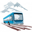 Shuttle Coach Bus and Mountains — Stock Vector