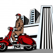Driver on Vespa — Stock vektor