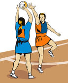 Netball Player Shooting — Stock Vector