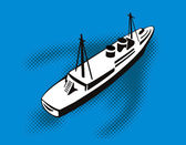 旅客貨物船からの眺め — ストックベクタ