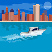 Skycrapers with Speedboat — Stock Vector
