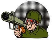 Soldier Aiming Bazooka — Stock Vector