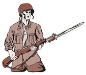 Soldier with Bayonet — Stock Vector