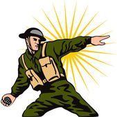 Soldier Throwing Grenade — Stock Vector