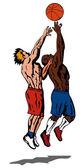 篮球运动员反弹 — 图库矢量图片