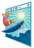 Surfer on Net Window — Stock Vector