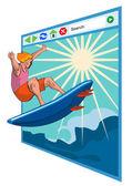 Surfista en la ventana red — Vector de stock