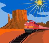 Train in Desert — Stock Vector