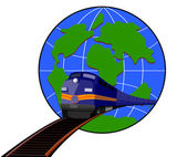 Train and Globe — Stock Vector