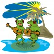 Frogs Playing Guitar Beach — Stock Photo #30005393