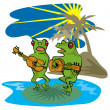 Frogs Playing Guitar Beach — Stock Photo