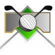 Golf Ball Clubs on Metal Crest — Stock Photo