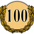 100 in Circle with Laurel Leaves — Stock Photo