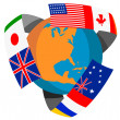 Globe World Flags Retro — Stock Photo