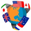 Stock Photo: Globe World Flags Retro