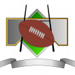Football and Goal Post on Metal Crest — Stock Photo