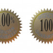 100 percent Satisfaction Guaranteed Gold Seal — Stock Photo