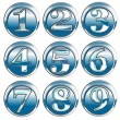 Number Icon Blue Chrome — Stock Photo