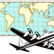 World Map Old Style and Airplane — Stock Photo