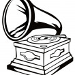 Phonograph Black and White — Stock Photo