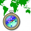 World Map and Compass — Stock Photo