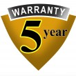5 Year Warranty Shield — Stock Photo