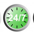 24 7 Clock Icon — Stock Photo