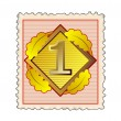 Number 1 in Diamond Stamp — Stock Photo