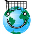 Smiley Face on Globe and Trolley — Stock Photo