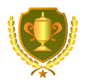 Championship Cup in Shield and Leaves — Stock Photo