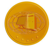 PC Computer in Gold Coin — Stock Photo