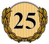 25 in cirkel met laurierblaadjes — Stockfoto