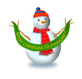 Snowman with Christmas Label — Stock Photo