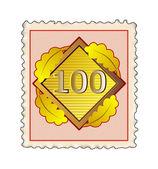 Number 100 Diamond Stamp — Stock Photo