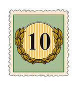 Number 10 in Stamp — Stock Photo