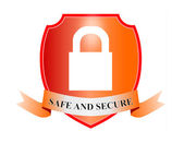 Safe and Secure Padlock in Shield — Stock Photo