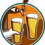 Beer Pint Glass Hand Tap Retro — Stock Vector