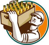 酒保啤酒手提箱复古 — 图库矢量图片