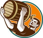 Bartender Pouring Drinking Keg Barrel Beer Retro — Stock Vector