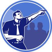 Apontador xilogravura para a frente de empresário — Vetorial Stock