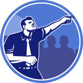 Businessman Pointing Forward Woodcut — Stock Vector