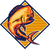 Dorado Dolphin Fish Mahi-Mahi Retro — Stock Vector