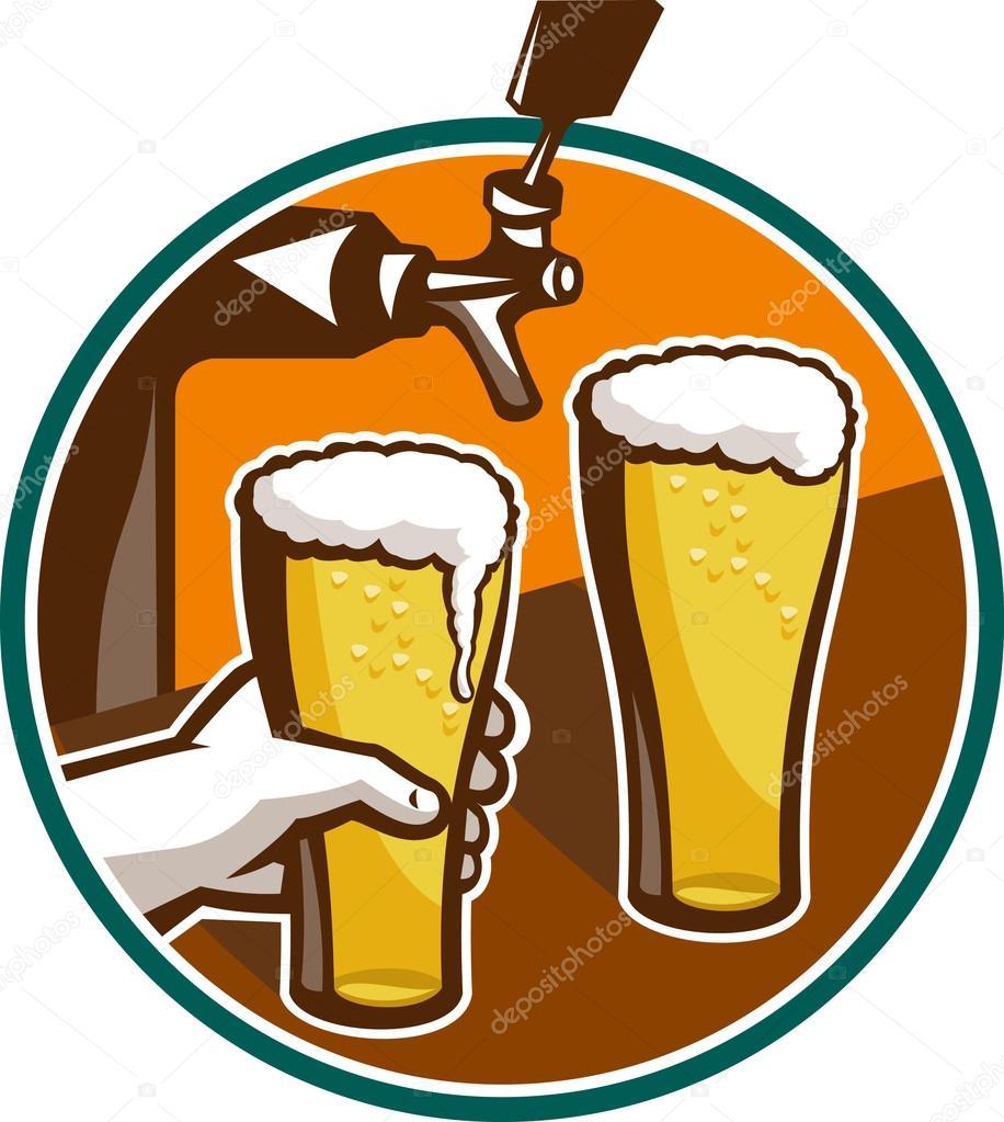 Рисунок от пива я в векторе